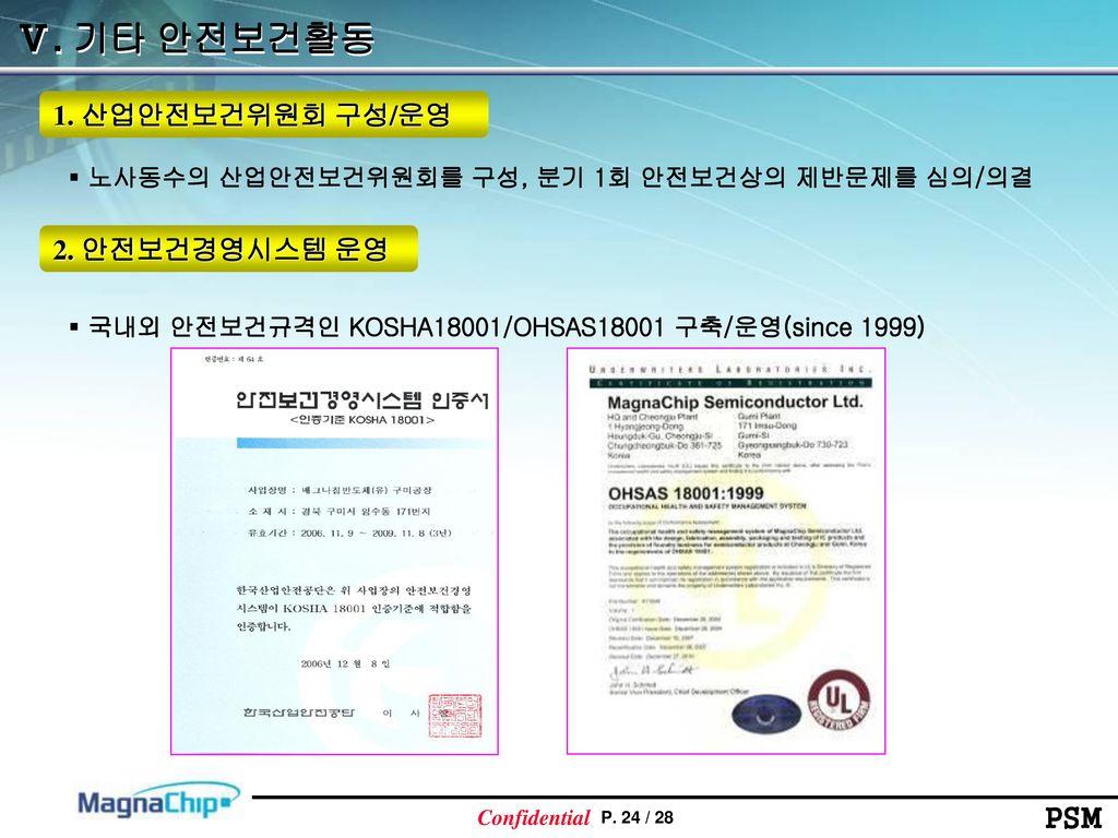 Ⅴ. 기타 안전보건활동 1. 산업안전보건위원회 구성/운영 2. 안전보건경영시스템 운영