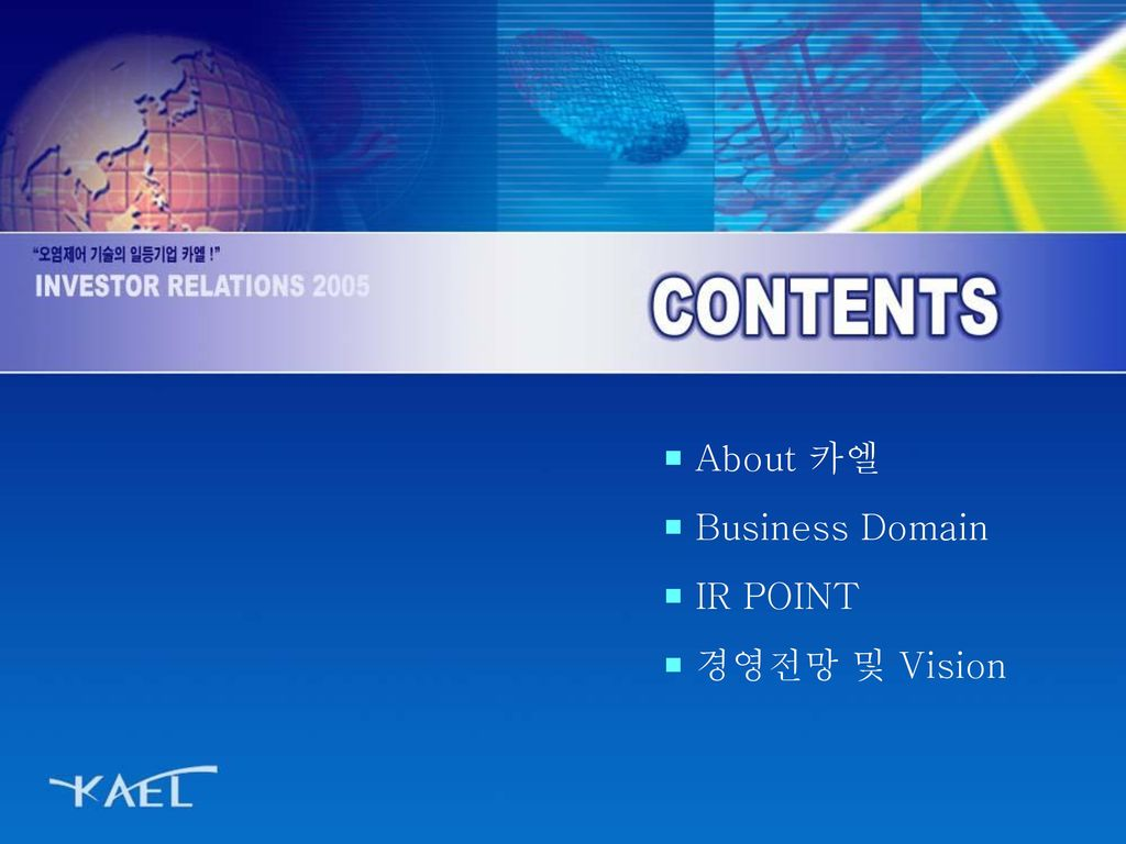 About 카엘 Business Domain IR POINT 경영전망 및 Vision
