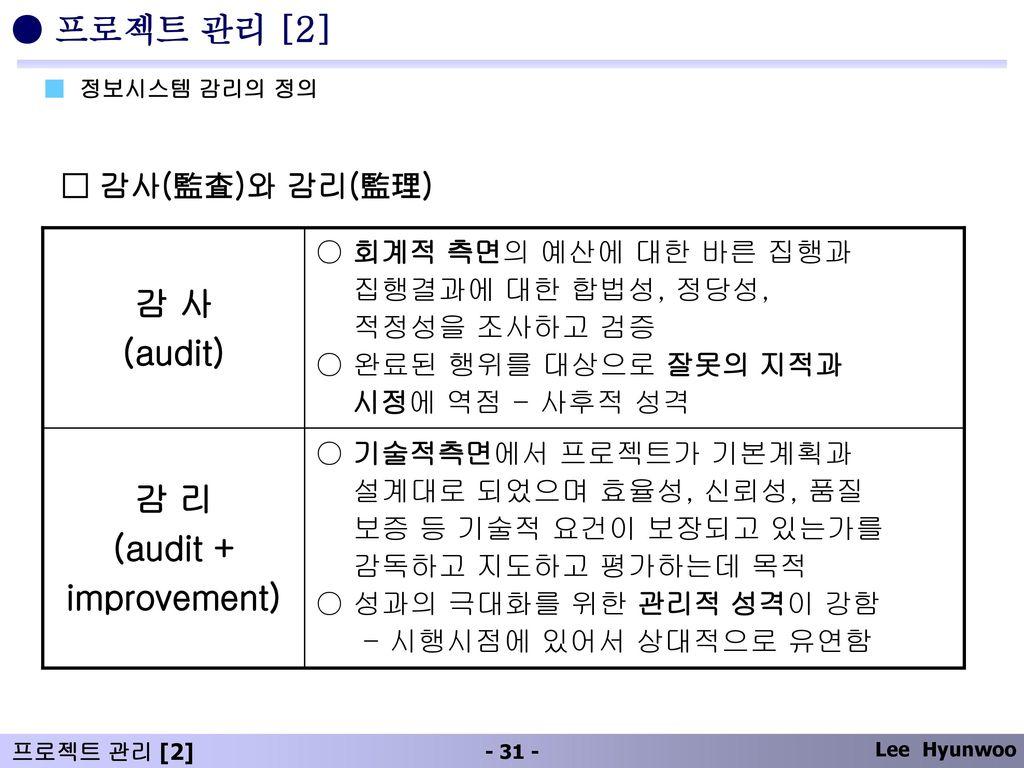 감 리 (audit + improvement) 감 사 (audit)