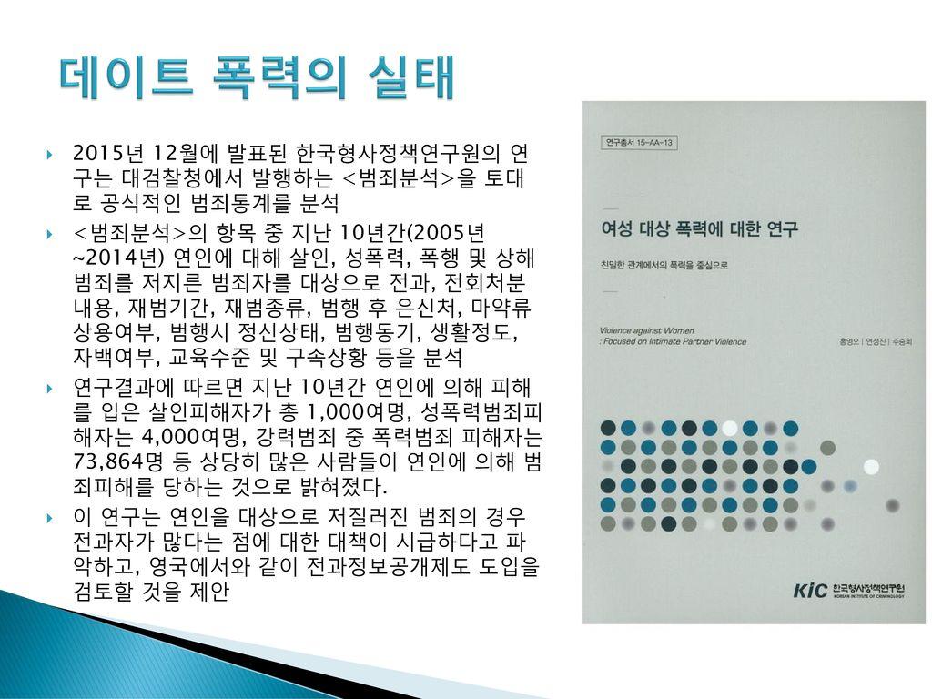 데이트 폭력의 실태 2015년 12월에 발표된 한국형사정책연구원의 연 구는 대검찰청에서 발행하는 <범죄분석>을 토대 로 공식적인 범죄통계를 분석.
