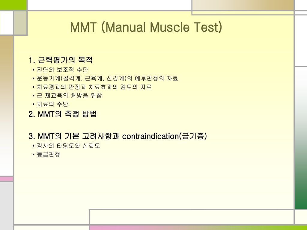 MMT (Manual Muscle Test)