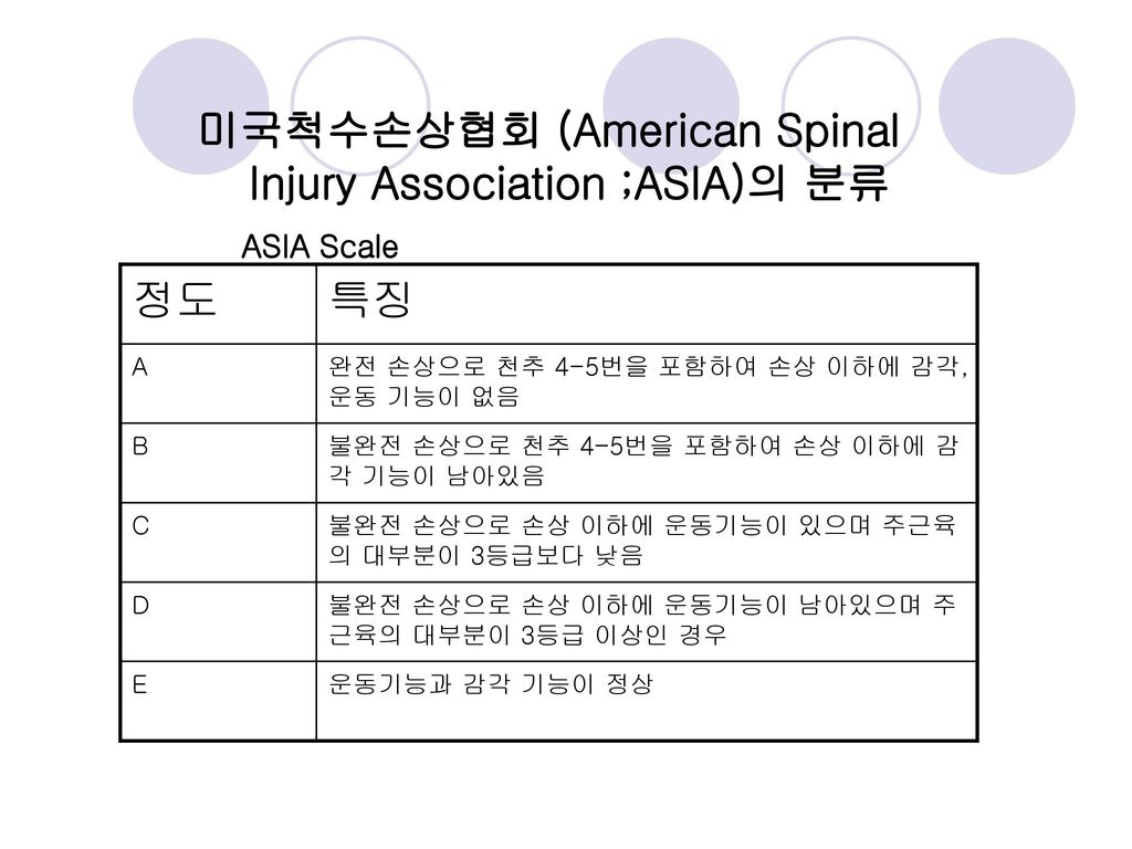 미국척수손상협회 (American Spinal Injury Association ;ASIA)의 분류