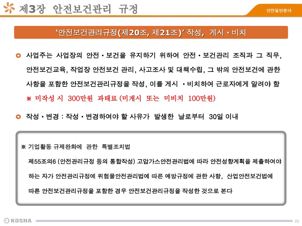 '안전보건관리규정(제20조, 제21조)' 작성, 게시ㆍ비치