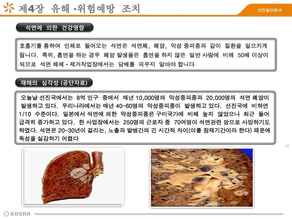 제4장 유해 ·위험예방 조치 석면에 의한 건강영향