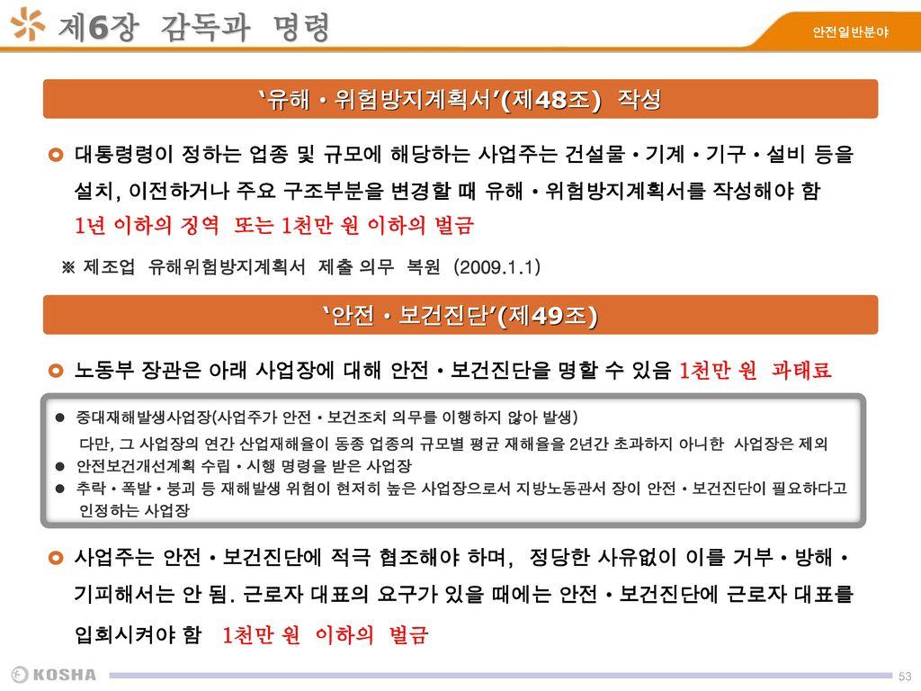 제6장 감독과 명령 '유해ㆍ위험방지계획서'(제48조) 작성 '안전ㆍ보건진단'(제49조)