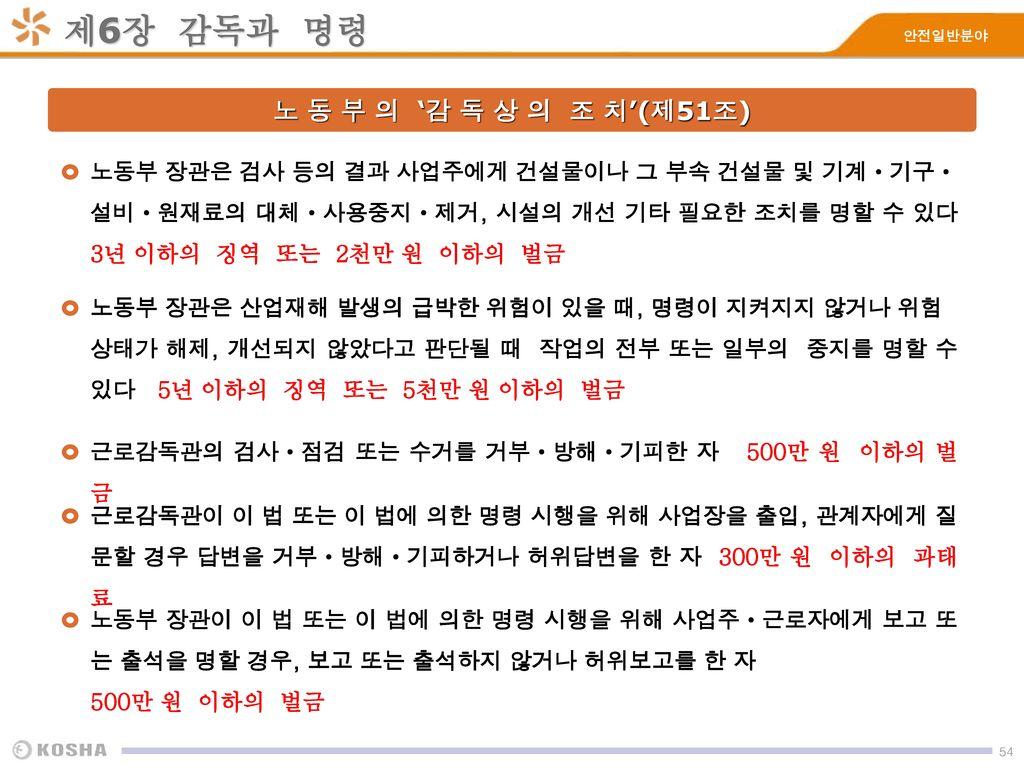 제6장 감독과 명령 노 동 부 의 '감 독 상 의 조 치'(제51조)