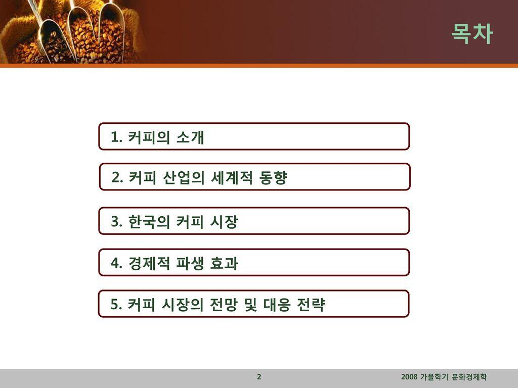 목차 1. 커피의 소개 2. 커피 산업의 세계적 동향 3. 한국의 커피 시장 4. 경제적 파생 효과