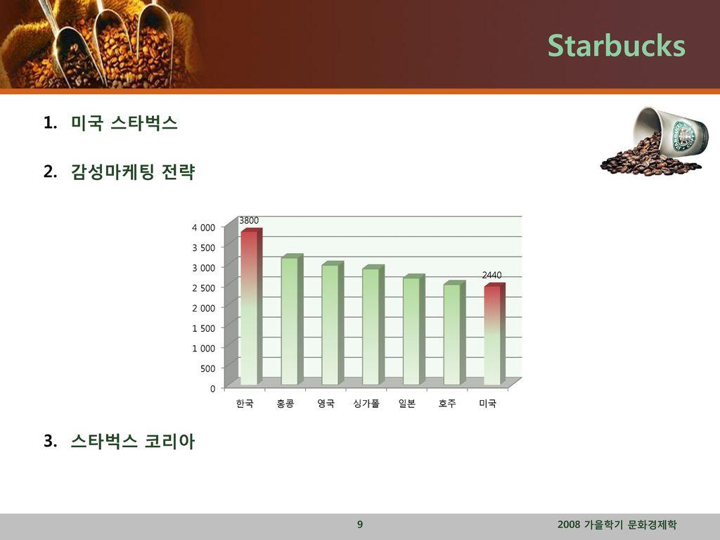 Starbucks 미국 스타벅스 감성마케팅 전략 스타벅스 코리아 2008 가을학기 문화경제학