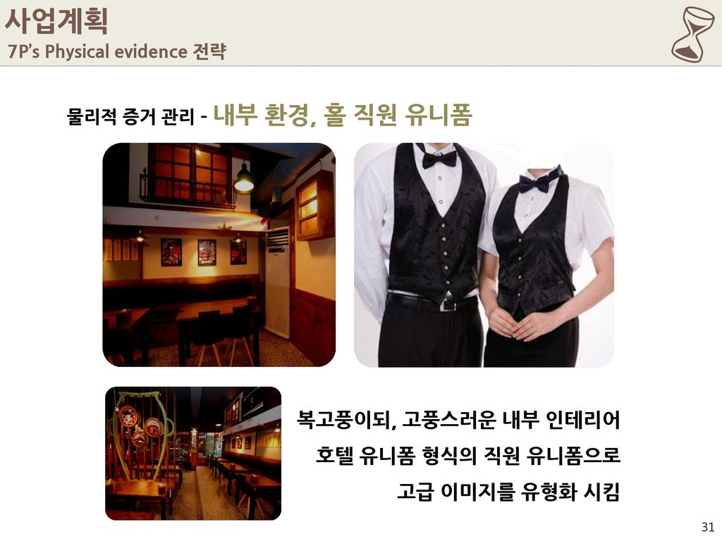 6 사업계획 복고풍이되, 고풍스러운 내부 인테리어 호텔 유니폼 형식의 직원 유니폼으로 고급 이미지를 유형화 시킴