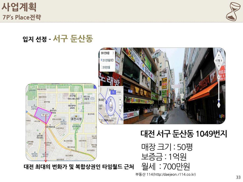 6 사업계획 대전 서구 둔산동 1049번지 매장 크기 : 50평 보증금 : 1억원 월세 : 700만원 7P's Place전략