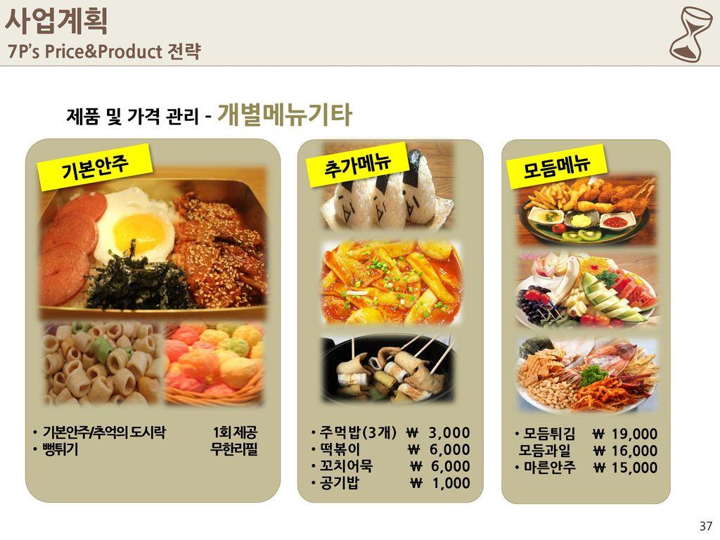 6 사업계획 7P's Price&Product 전략 제품 및 가격 관리 – 개별메뉴기타 추가메뉴 기본안주 모듬메뉴