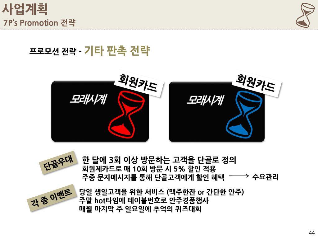 6 6 사업계획 모래시계 회원카드 회원카드 7P's Promotion 전략 프로모션 전략 – 기타 판촉 전략 단골우대