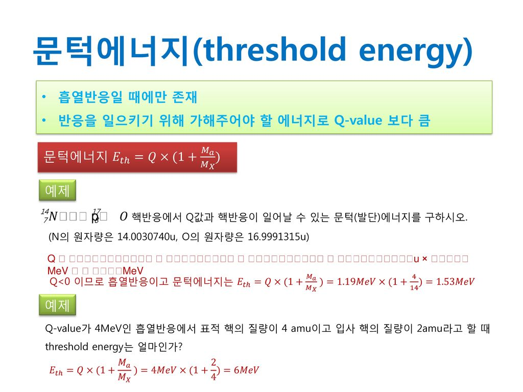 문턱에너지(threshold energy)