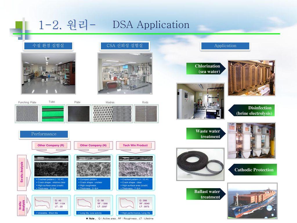 1-2. 원리- DSA Application Chlorination (sea water) Disinfection