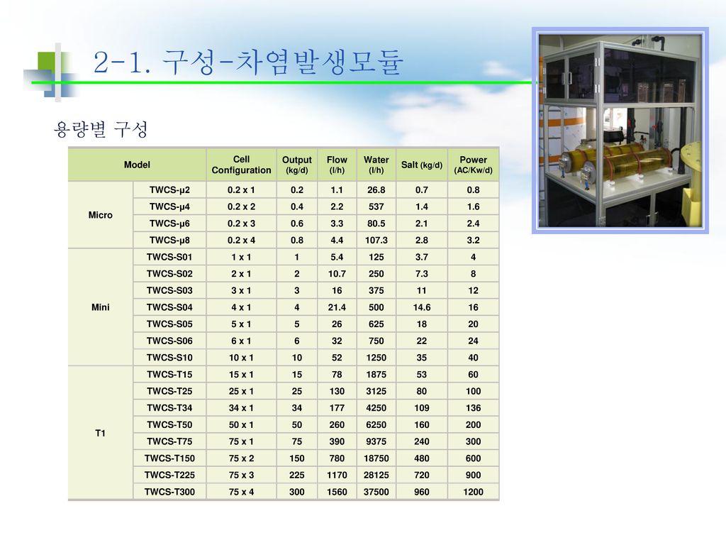 2-1. 구성-차염발생모듈 용량별 구성 Model Cell Configuration Output (kg/d)
