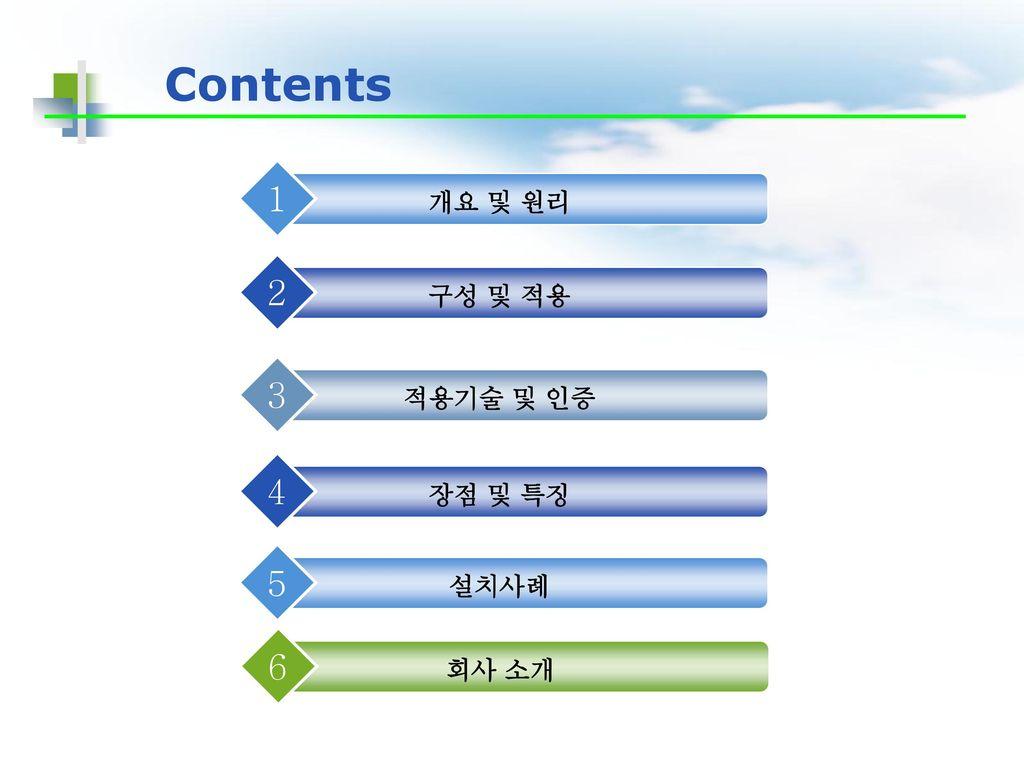Contents 개요 및 원리 1 구성 및 적용 2 적용기술 및 인증 3 장점 및 특징 4 설치사례 5 회사 소개 6