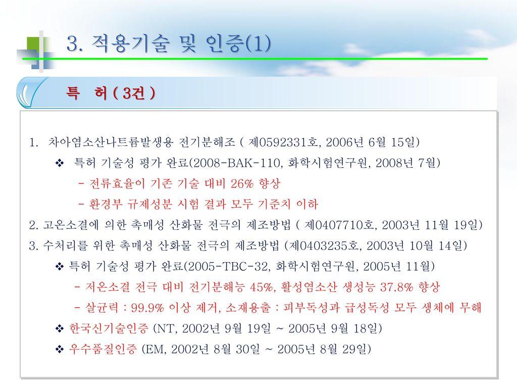 3. 적용기술 및 인증(1) 특 허 ( 3건 ) 차아염소산나트륨발생용 전기분해조 ( 제0592331호, 2006년 6월 15일) 특허 기술성 평가 완료(2008-BAK-110, 화학시험연구원, 2008년 7월)