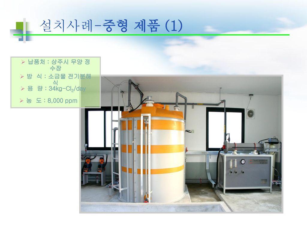 설치사례-중형 제품 (1) 납품처 : 상주시 무양 정 수장 방 식 : 소금물 전기분해식 용 량 : 34kg-Cl2/day