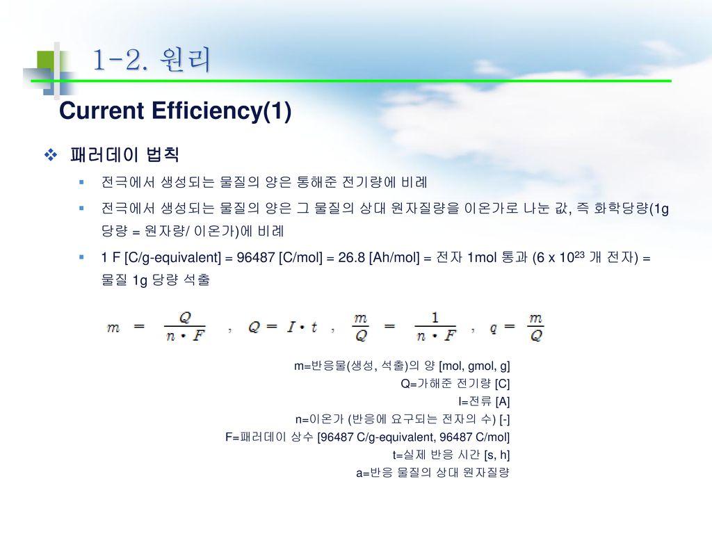 1-2. 원리 Current Efficiency(1) 패러데이 법칙 전극에서 생성되는 물질의 양은 통해준 전기량에 비례