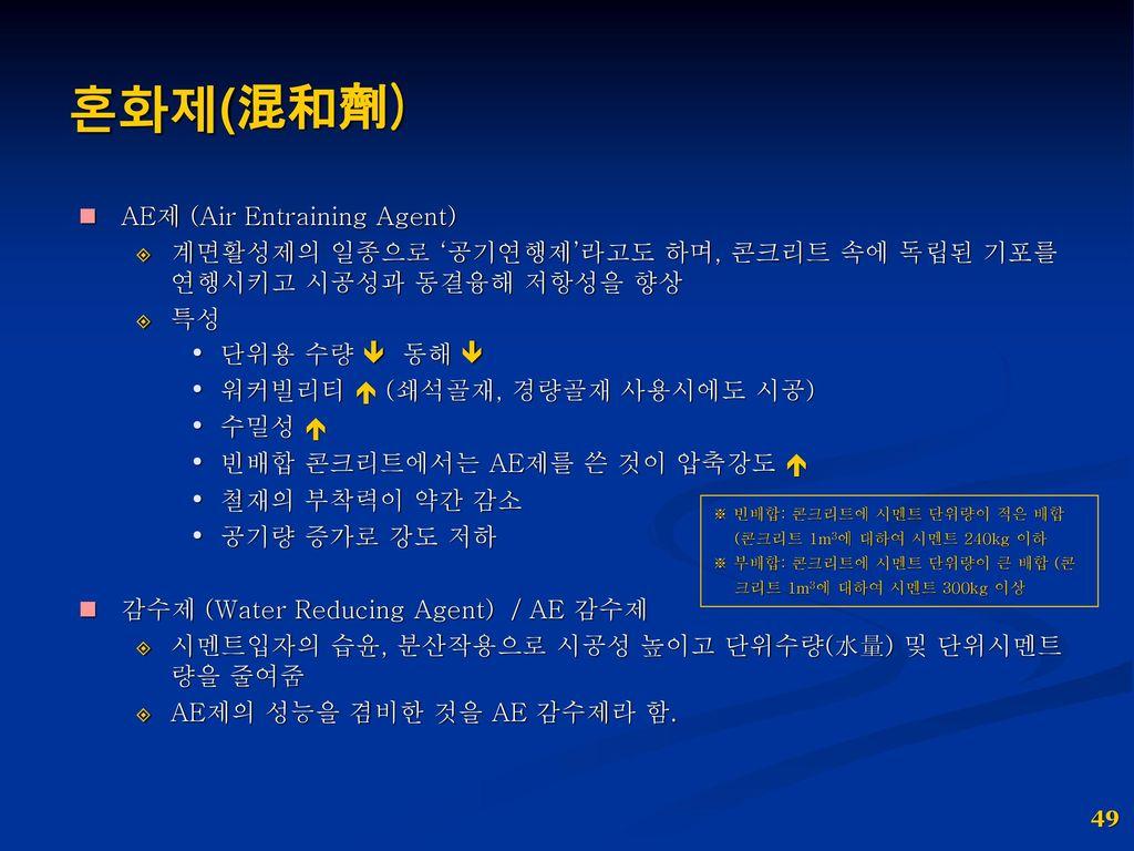 혼화제(混和劑) AE제 (Air Entraining Agent)