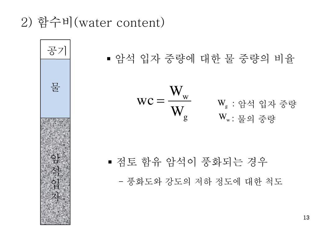 2) 함수비(water content) 공기 암석 입자 중량에 대한 물 중량의 비율 물 암석입자
