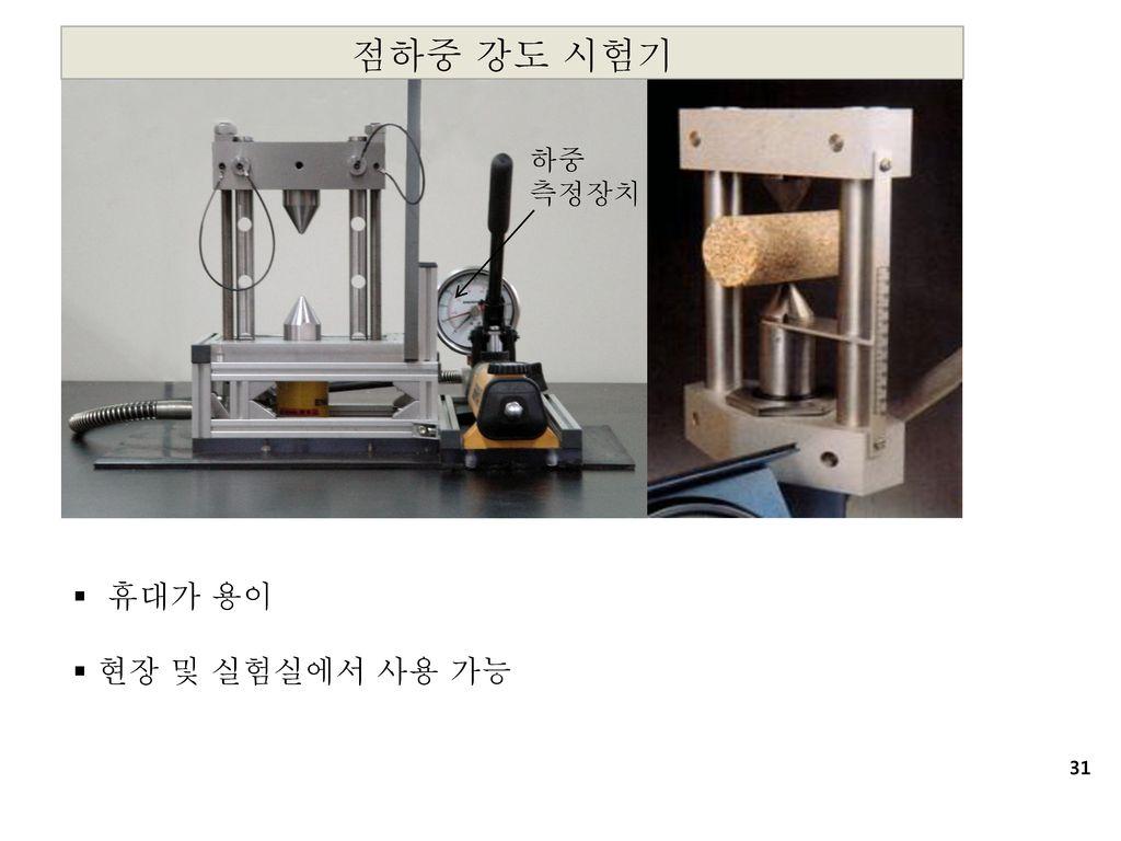 점하중 강도 시험기 하중 측정장치 휴대가 용이 현장 및 실험실에서 사용 가능