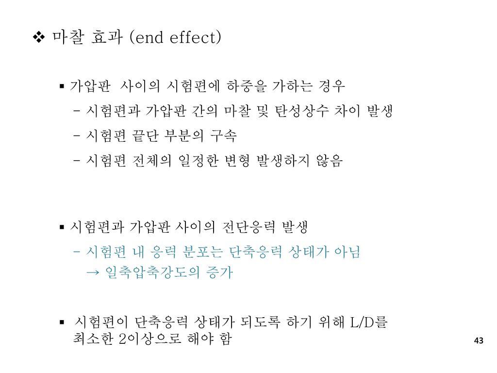 마찰 효과 (end effect) 가압판 사이의 시험편에 하중을 가하는 경우