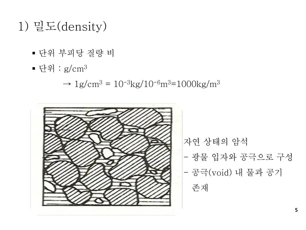 1) 밀도(density) 단위 부피당 질량 비 단위 : g/cm3