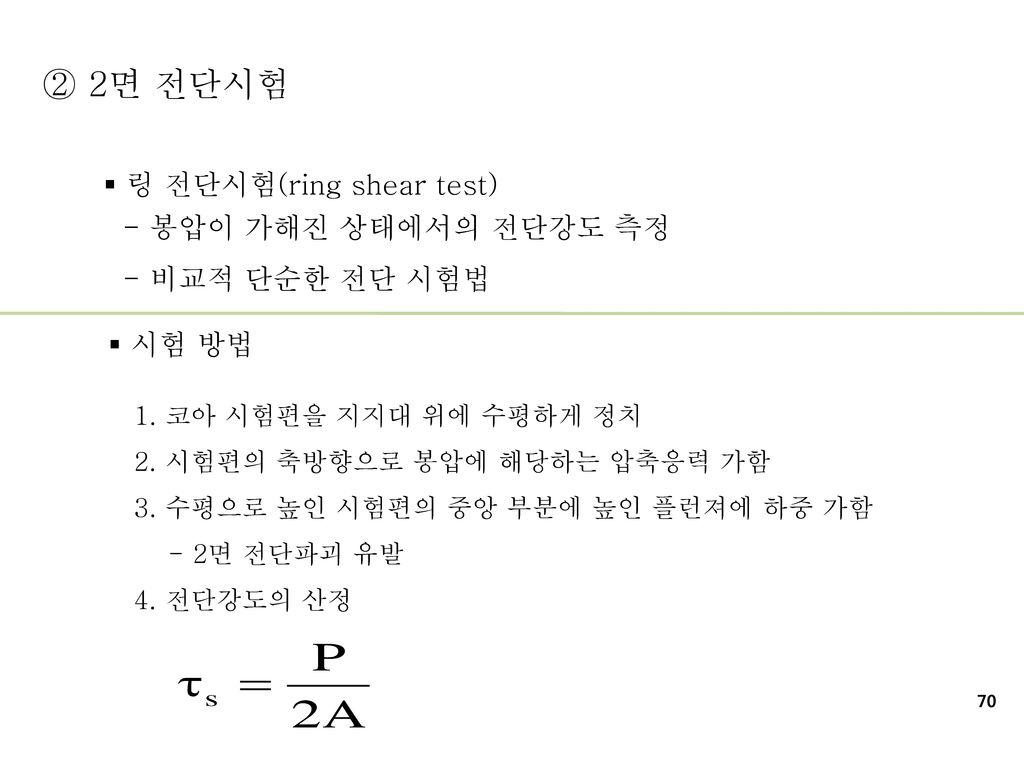 ② 2면 전단시험 링 전단시험(ring shear test) - 봉압이 가해진 상태에서의 전단강도 측정