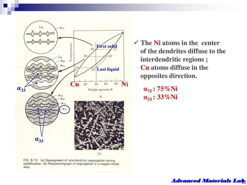The Ni atoms in the center of the dendrites diffuse to the