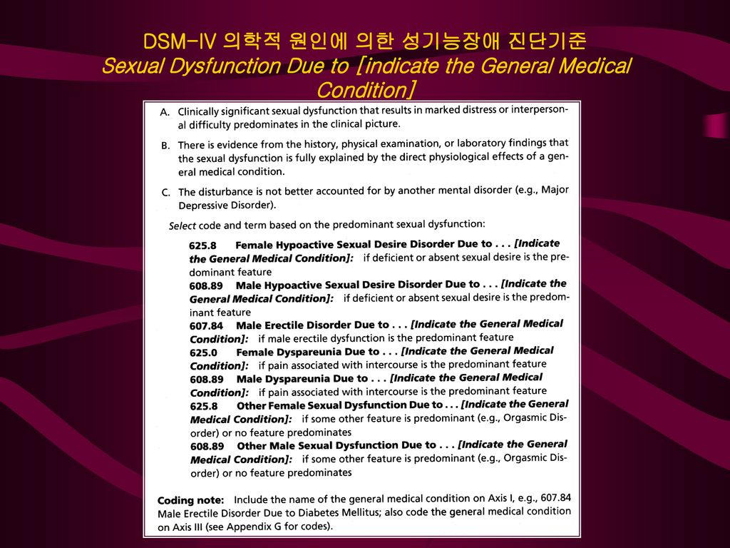 DSM-IV 의학적 원인에 의한 성기능장애 진단기준 Sexual Dysfunction Due to [indicate the General Medical Condition]