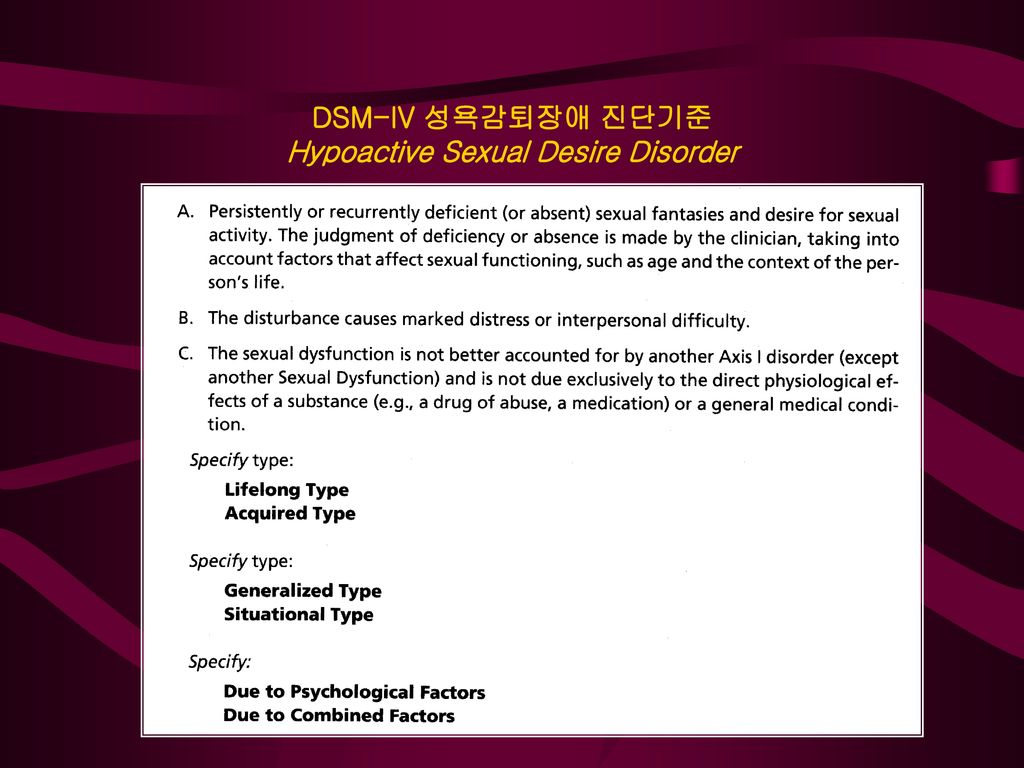 DSM-IV 성욕감퇴장애 진단기준 Hypoactive Sexual Desire Disorder