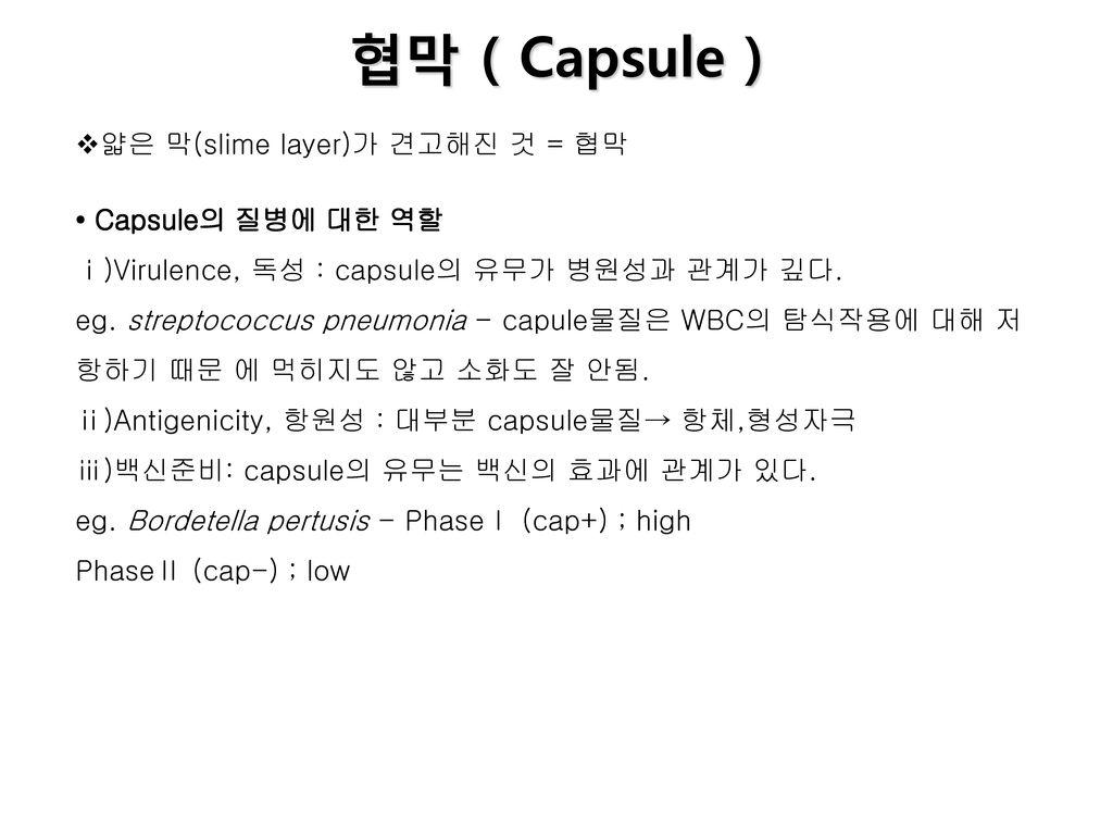 협막 ( Capsule ) 얇은 막(slime layer)가 견고해진 것 = 협막 • Capsule의 질병에 대한 역할