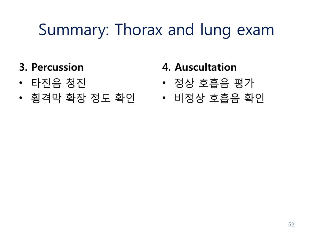 Summary: Thorax and lung exam