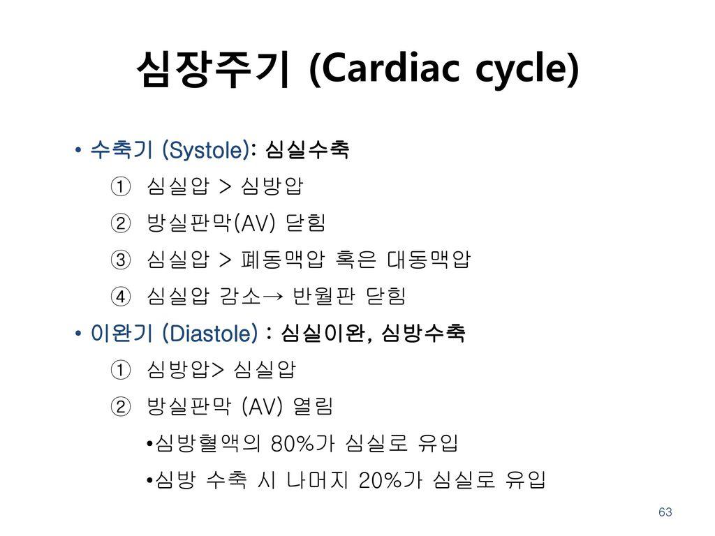 심장주기 (Cardiac cycle) 수축기 (Systole): 심실수축 심실압 > 심방압 방실판막(AV) 닫힘