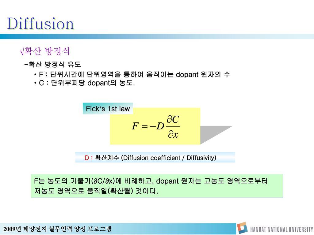 Diffusion 확산 방정식 -확산 방정식 유도 F : 단위시간에 단위영역을 통하여 움직이는 dopant 원자의 수