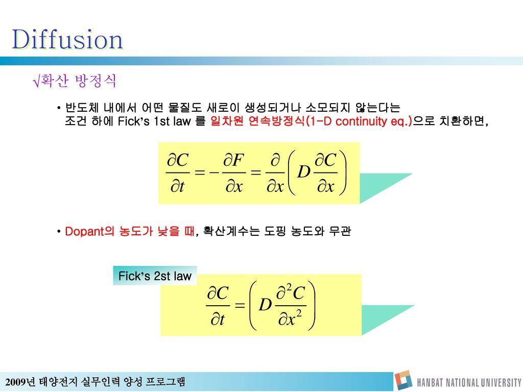 Diffusion 확산 방정식 반도체 내에서 어떤 물질도 새로이 생성되거나 소모되지 않는다는