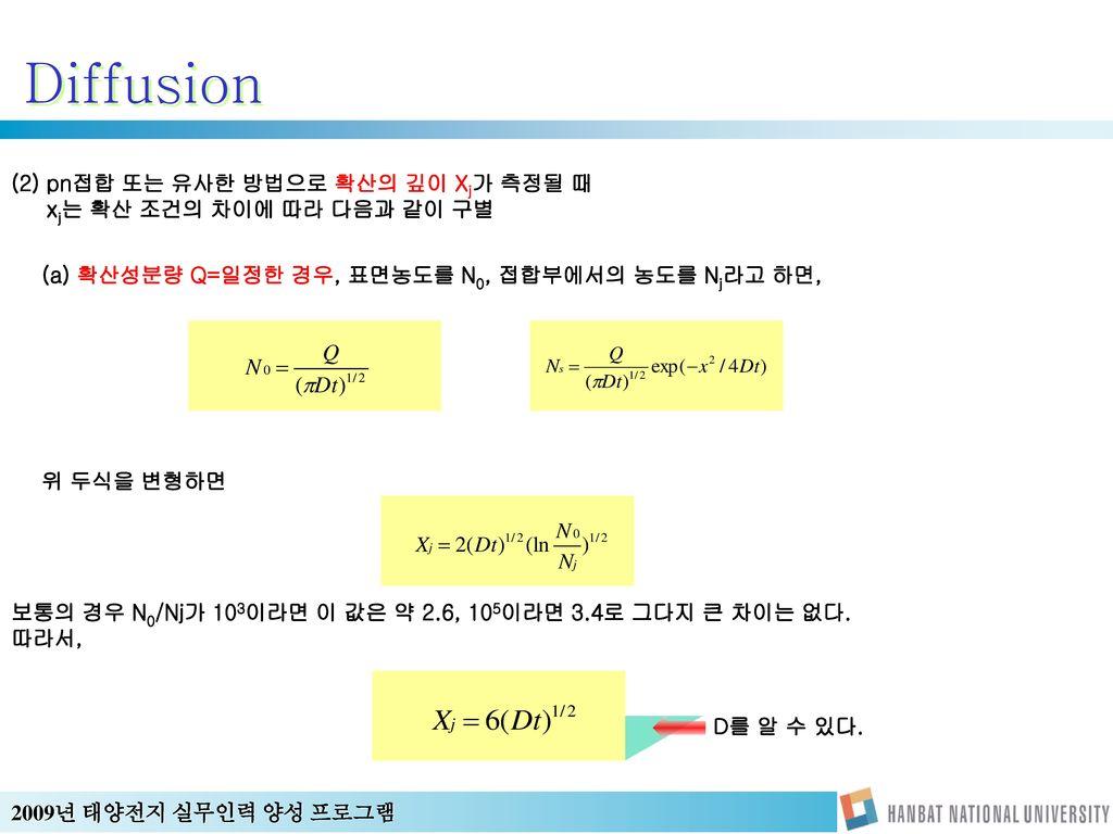 Diffusion (2) pn접합 또는 유사한 방법으로 확산의 깊이 Xj가 측정될 때