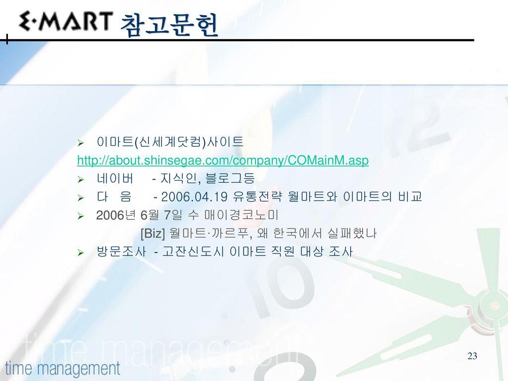 참고문헌 이마트(신세계닷컴)사이트 http://about.shinsegae.com/company/COMainM.asp