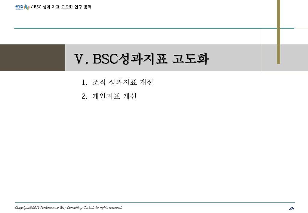 Ⅴ. BSC성과지표 고도화 조직 성과지표 개선 개인지표 개선