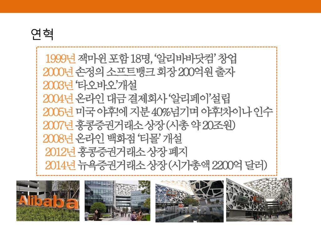 연혁 1999년 잭마윈 포함 18명, '알리바바닷컴' 창업 2000년 손정의 소프트뱅크 회장 200억원 출자