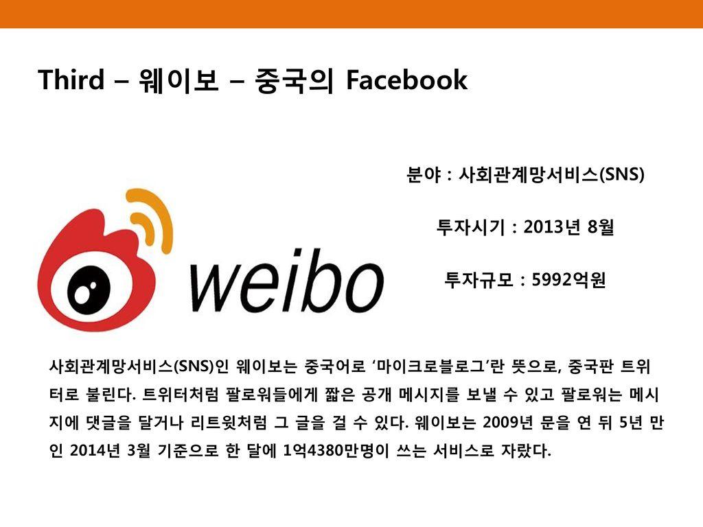 Third – 웨이보 – 중국의 Facebook
