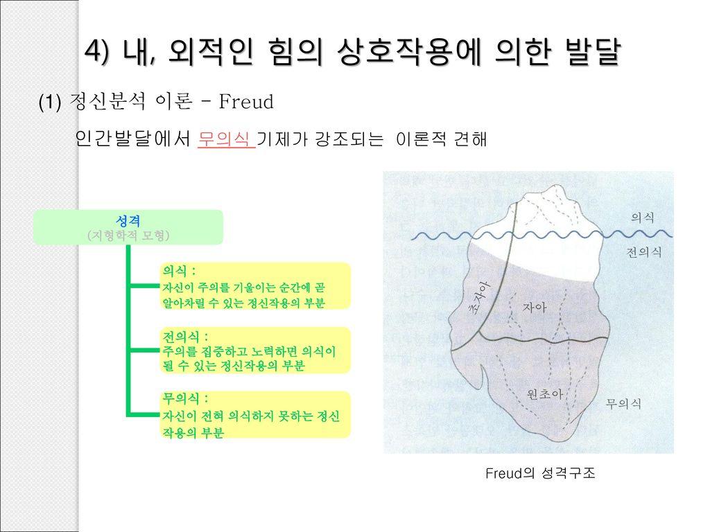 4) 내, 외적인 힘의 상호작용에 의한 발달 (1) 정신분석 이론 - Freud
