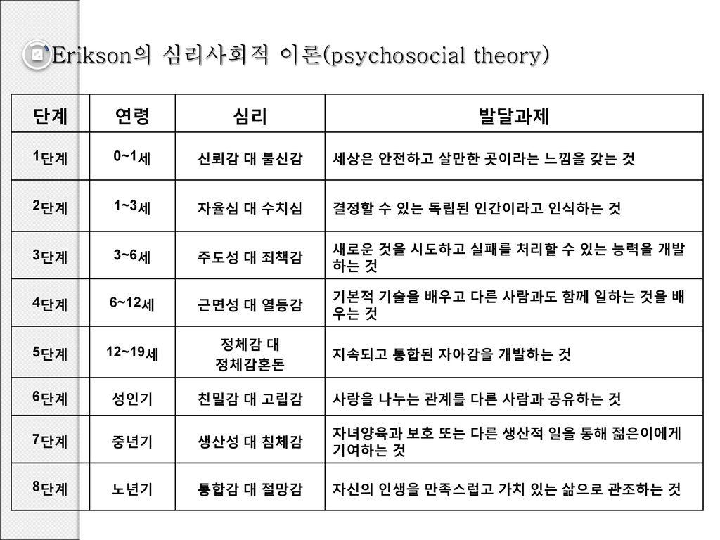 Erikson의 심리사회적 이론(psychosocial theory)