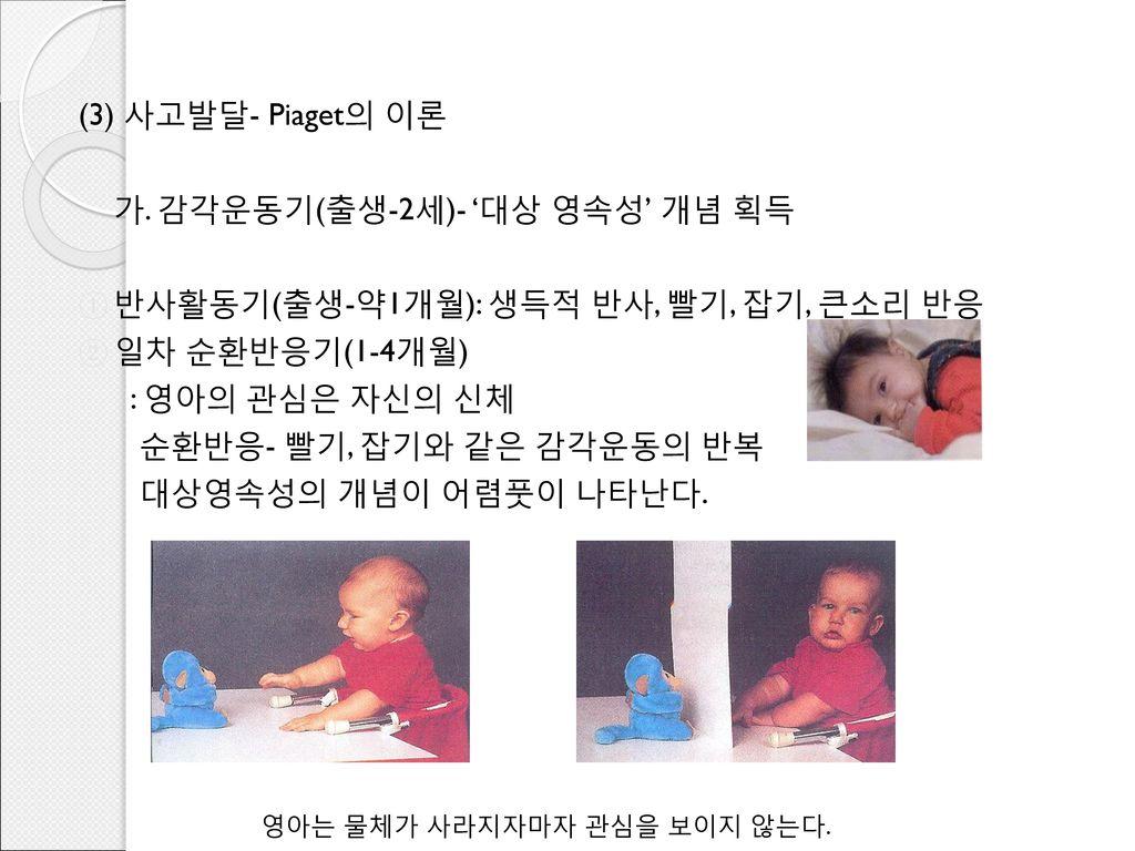 (3) 사고발달- Piaget의 이론 가. 감각운동기(출생-2세)- '대상 영속성' 개념 획득. 반사활동기(출생-약1개월): 생득적 반사, 빨기, 잡기, 큰소리 반응. 일차 순환반응기(1-4개월)