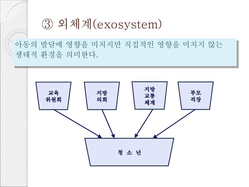 ③ 외체계(exosystem) 아동의 발달에 영향을 미치지만 직접적인 영향을 미치지 않는 생태적 환경을 의미한다. 교육 위원회