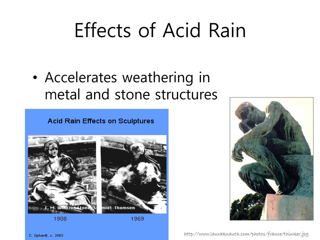 Effects of Acid Rain Accelerates weathering in metal and stone structures.