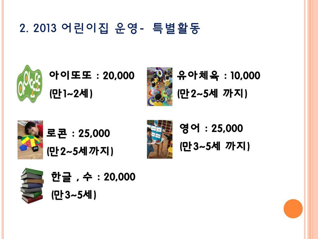 2. 2013 어린이집 운영- 특별활동 영어 : 25,000 (만3~5세 까지) 유아체육 : 10,000 (만2~5세 까지)