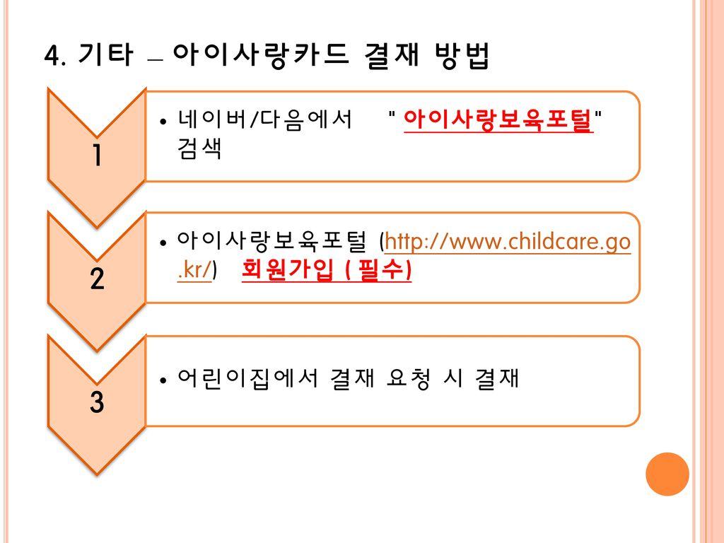 4. 기타 – 아이사랑카드 결재 방법 아이사랑보육포털 (http://www.childcare.go.kr/) 회원가입 ( 필수)