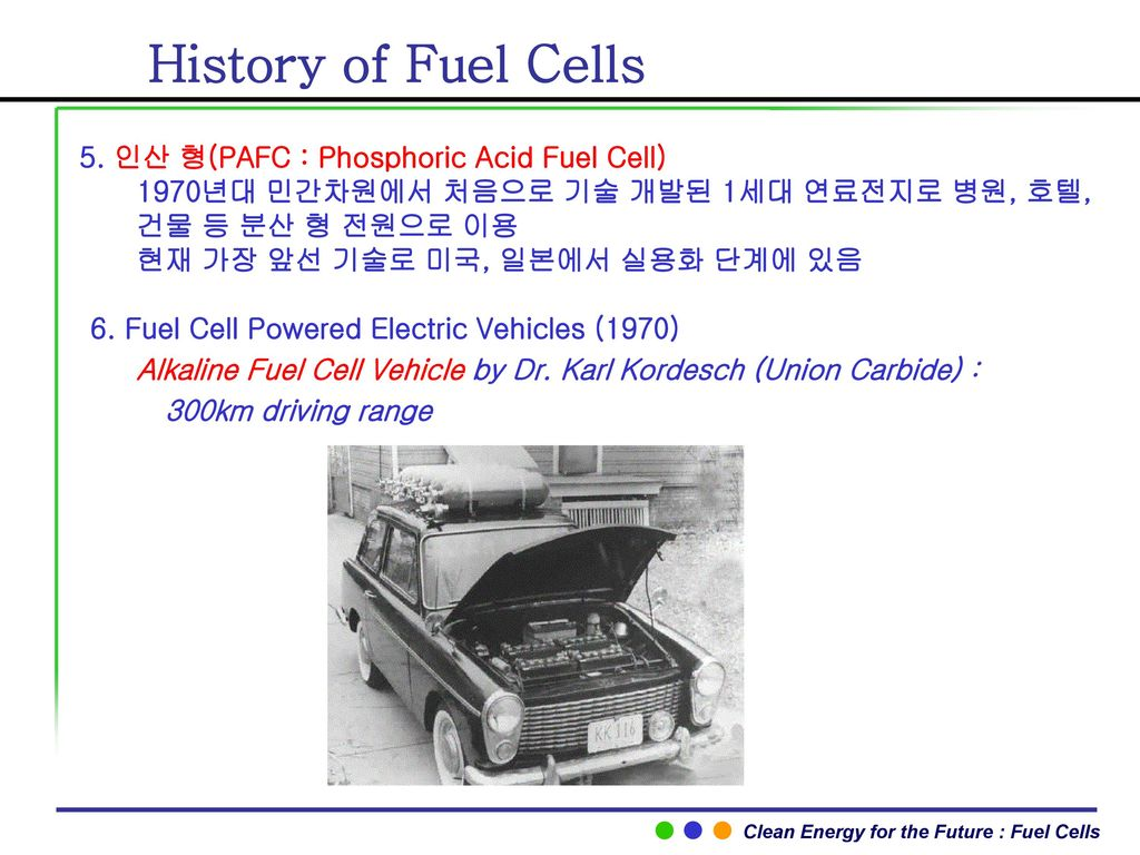 History of Fuel Cells 5. 인산 형(PAFC : Phosphoric Acid Fuel Cell)